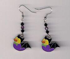 Halloween Earrings -Bat Rubber Ducks beaded with Swarovski Beads
