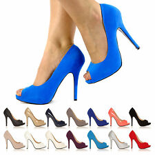 Tia Electric Blue Faux Suede Stiletto High Heel Platform PEEP Toe Shoes UK 5 EU 38