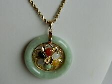 14K Gold And Genuine Jade Circle Pendant Necklace  With Multi Color Jade Stones
