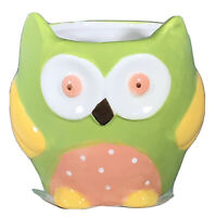 New Small Glazed Ceramic Owl Pot Planter Holder Succulent Herbs Decor Spring
