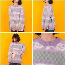 Large Fairy Kei Pastel Jumper Vintage Style 80s Rose Sweater Cute Kawaii Retro