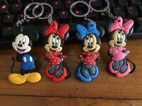4pcs mickey minnie head silica gel key chain key chains action key ring anime