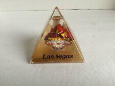 "VTG Pyramid Las Vegas Paper Weight ""Water Globe"" Gold dust when shaken pen holde"