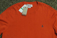 BEN SHERMAN Cotton Blend Lightweight Sweater L NWT79 Signature Logo's-Red Clay!