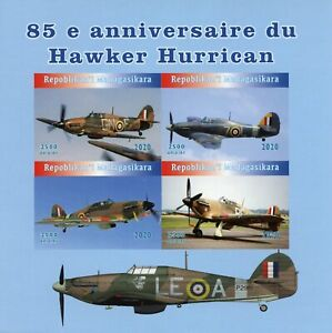 Madagascar Military Aviation Stamps 2020 MNH Hawker Hurricane 4v IMPF M/S