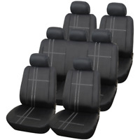 Deluxe Polyester Texas Black & Grey 7 Seater Car MPV Seat Covers Set 13 Piece