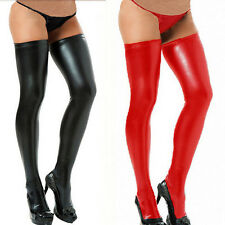 Fashion Women Long Spandex Latex Rubber Stockings Thigh Tights Hosiery Red/Black
