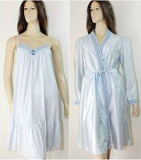 Vintage TOM BEZDUDA Barad Nightgown / Peignoir Set ~ Blue Nylon Lingerie ESTATE