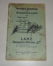 Operating Instructions/Parts Catalog Lanz Gespann-Binder L