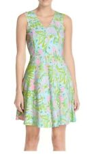 Lilly Pulitzer Dahlia Sleeveless V Neck Pink Green Floral Dress Size XXS New
