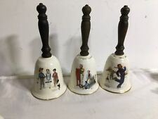 Lot Of 3 Vtg Collectible Annual Gorham Norman Rockwell Porcelain Bell 1978 80 82