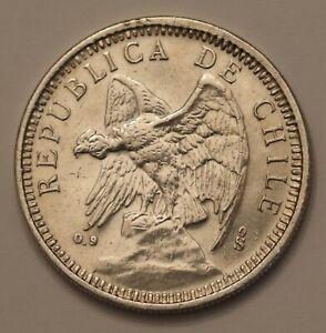 1927 Chile 5 pesos - 25 grams 900 silver - crown sized - Defiant Condor