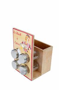 Distributore porta spezie e porta utensili da cucina  in legno