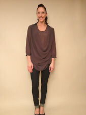 GOLDIE LONDON  'Nikki' Studded Collar Chiffon Blouse, Grey, NWT.  Size S/M  $210