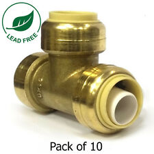 """1/2"""" x 1/2"""" x 1/2"""" Sharkbite Style Push Fit Tees Fittings Lead Free 10 Pieces"""