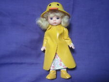"""Vintage 5"""" Plastic Doll With Sleepy Eyes Rain Coat with Duck Hat - SUPERB!"""