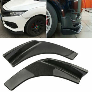 Pair Winglet Type Carbon Fiber Style Front Bumper Lip Diffuser Splitters Canard