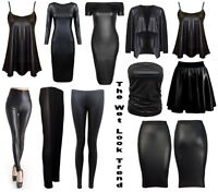 NEW WOMENS WET LOOK PVC SEXY BODYCON DRESS MINI SKIRT TOP LEGGINGS PLUS SIZE