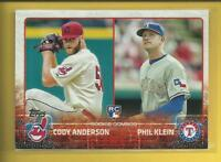 Cody Anderson Phil Klein RC 2015 Topps Update Rookie Combos Card # US52 Indians