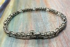 Estate 10k White Gold 30 Round Brilliant Diamond Tennis Bracelet 0.6 CTW.8.5 Gr