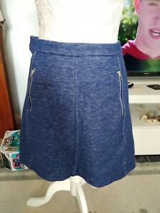 H&M Skirt  Size S Bluey Flex Front Zip Pockets