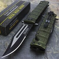 "8.5"" TAC FORCE MILITARY GREEN SPRING ASSISTED FOLDING POCKET KNIFE Open EDC"