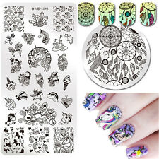 2Pcs Unicorn Nail Art Stamping Plates Dreamcatcher Stamp Image Templates Tools
