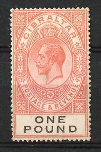 GIBRALTAR KGV 1921 £1 Orange / Black SG107, Mint MLH