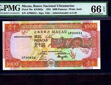 Macau, 1000 Patacas 1991, P-70a, PMG Gem Unc 66 EPQ * Rare Grade *