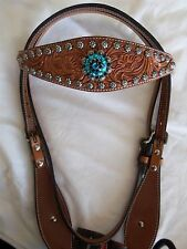 CIRCLE Y FLARED BROW HEADSTALL-TURQUOISE & BLACK BEADS- SUNSPOTS--NEW WITH TAGS