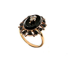 Vintage 14K Yellow Gold Black Onyx Oval Ring 3.7 Grams Size 6.5