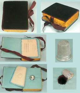 Antique Velvet Pincushion, Needle Book & Sterling Silver Thimble Holder * C1890s