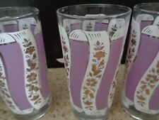 3  Frosted Lavender Drinking  Glasses, Swirls of Lavender & White. 16oz VGUC