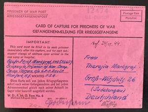 1944 USA German POW Camp Postcard Cover to Gross Witschitz Germany Josef Markgra
