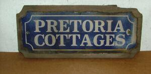 Antique Original Enamel House Sign Pretoria Cottages