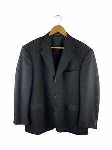 VINTAGE Kenneth Cole Button Up Blazer Suit Jacket Men Size 42 SW Black 100% Wool