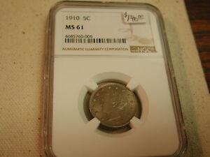 1910 5C Nickel MS61 NGC