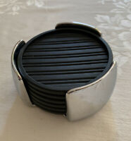 Via Set Of 6 Black Silicone Coasters In Shiny Silver Tone Metal Container Heavy