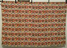 Vintage Cotton Barkcloth Curtain Decorating Fabric 50s NOVELTY Apples 80W 56L