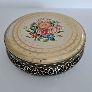 Vintage Floral Round Tin (Gray Dunn) - Free P&P Inc