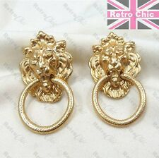CHUNKY RETRO gold fashion LION HEAD doorknocker HOOP EARRINGS hoops vintage styl