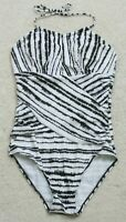 Unbranded White & Black Swimsuit One Piece Striped Halter Top Size Medium J19
