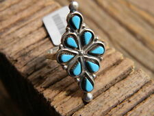 Sterling silver ladies Zuni made ring 8 piece Kingman turquoise size 6, 7, or 8
