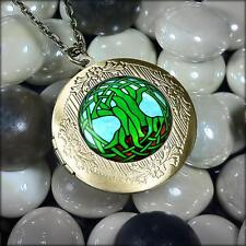 Tree of Life Irish Stained Glass Window Celtic Antique Bronze Locket Necklace
