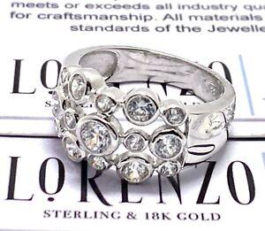 Designer Lorenzo .925 Sterling Silver 1.50ct White Topaz Anniversary Band Ring
