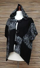 LAGENLOOK AMAZING BOHO LOVELY QUIRKY PRINT HOODED JACKET*BLACK* SIZE XL-XXL