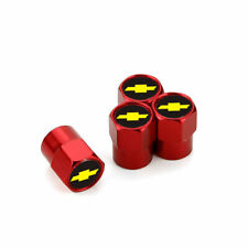 4x Red Auto Car Wheel Tire Air Valve Caps Stem Dust Cover With Chevrolet Emblem