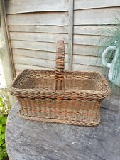 Vintage French Rustic Wicker  Basket for Shopping Gardening Storage Display