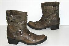 MEXICANA  Bottines Boots Cuir Rigide Clouté Vert Bronze T 8.5 US / 39 TTBE