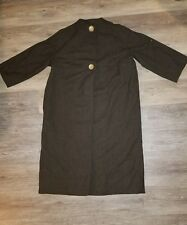 Vintage wool brown green half sleeve 2 big button fully lined coat size medium